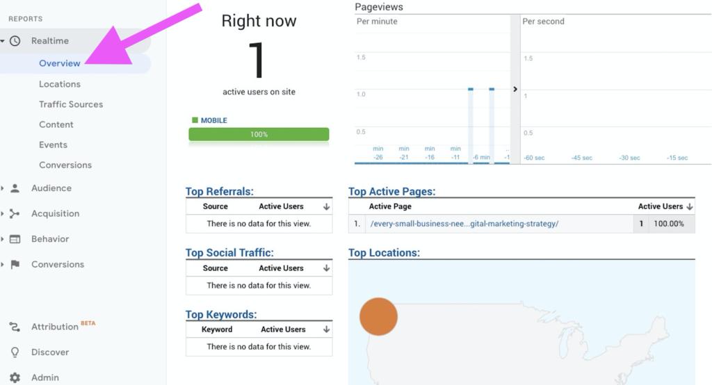 Google Analytics - realtime traffic
