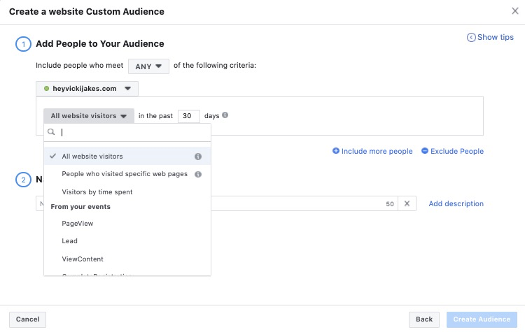 Facebook Ads - custom audience - website