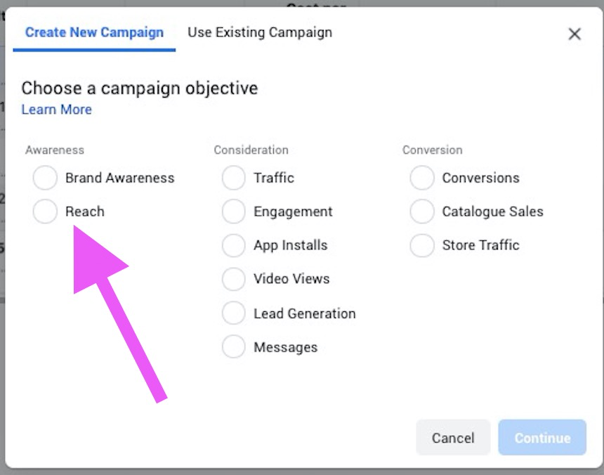Facebook Ads - objective