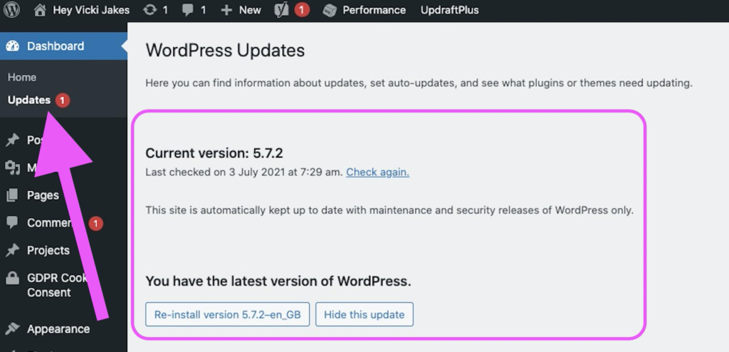 wordpress website updated - how to see what version of WordPress you're running in the admin view