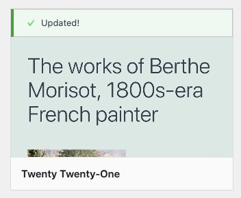 updating theme notification